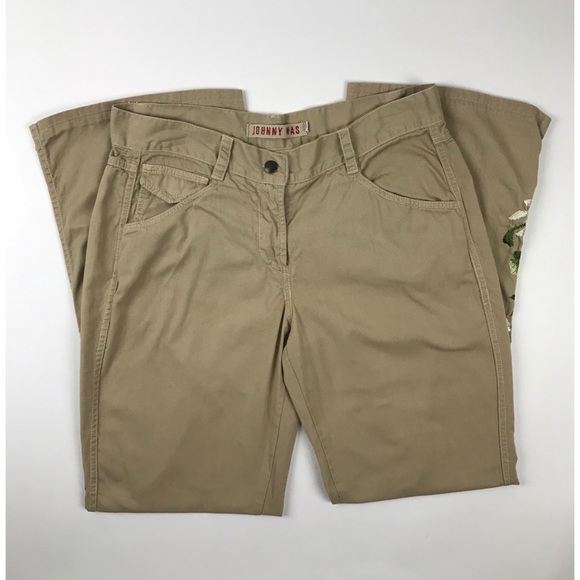 Johnny Was Pants - Johnny Was Khaki Floral Embroidered Pants
